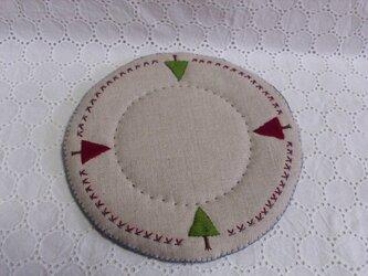 リネンと毛糸と刺繍のポットマット⑤の画像