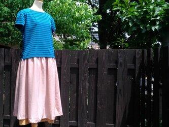 linen&cotton 2枚重ね 切り替えギャザースカートの画像