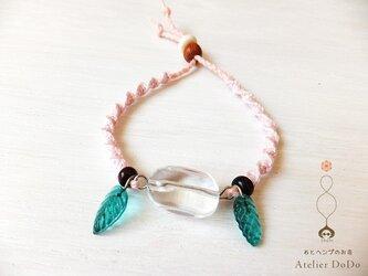 【ピュア/ベビーピンク】ヘンプと水晶と木の葉のブレスの画像