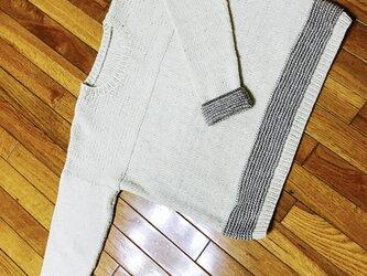 ちょこっと縞セーターの画像