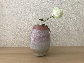 桃色釉とわら灰釉の一輪挿しの画像