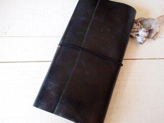 本革黒いクラック A5変形手帳カバー 自然な切り口 モレ・トラベラーズの画像