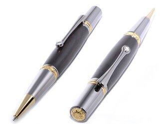 【受注製作】 木製の回転式ボールペン(ブラックウッド;ブラック・チタン+ゴールド・チタン)(MJ-BTGT-AB)の画像