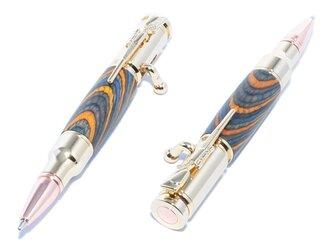 【受注製作】木製のボルトアクション方式ボールペン(染めたハードウッドの種類;24金のメッキ)MBA-24G-CGOCの画像