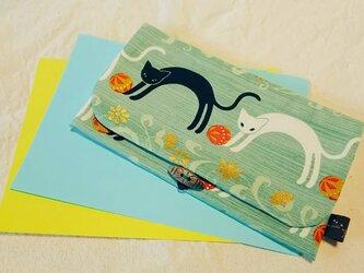 ◆和柄◇通帳ケース 猫 greenの画像