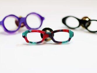 メガネラペルピン(スクエア、Sサイズ、長針、赤緑紫)の画像