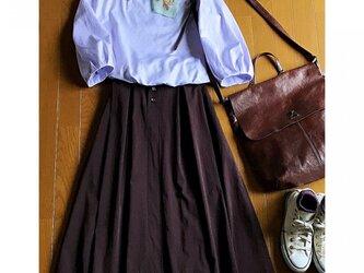 イタリー製コットンストレッチ タックギャザースカートの画像