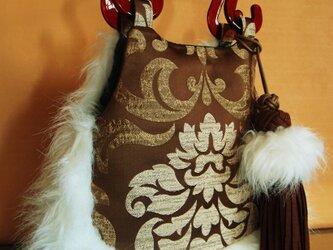 トルコーインポートゴシック生地・フェルトアジアンノット&ボンボンタッセル付きファーグラニーバッグの画像