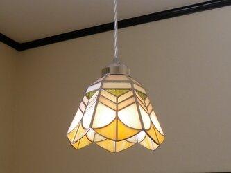 イエロー・オレンジ(ステンドグラスペンダントライト)天井のおしゃれガラス照明 Lサイズ・14の画像