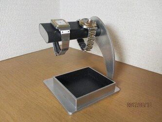 プレゼントに だ円パイプの角度を変更できるブラック腕時計スタンド  受注生産の画像