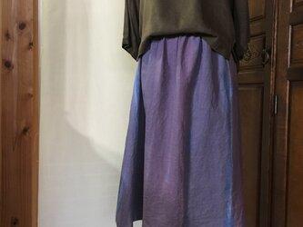 《瑠璃色と桔梗色の重なり》手描き染め 日本製麻100%ギャザースカートの画像