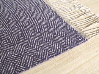 手織りリネンテーブルセンター ブルーの画像
