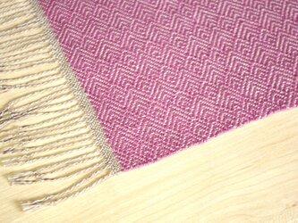 手織りリネンテーブルセンター ピンクの画像