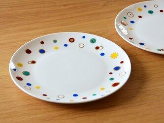 カラフルな水玉のお皿 二枚組の画像