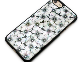 iPhone7/6/6sケース 天然貝仕様(ハナミズキ・黒カバー)<螺鈿アート>【ギフト対応】の画像