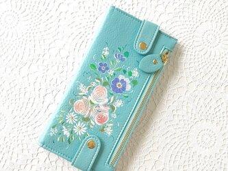 花ペイント カードケース(ブルー)_バラとアネモネ【受注制作】の画像