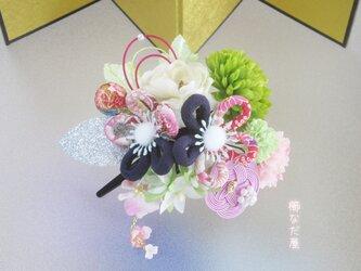 成人式 七五三 和装髪飾り 振袖 着物 ヘアクリップ ちりめん紐花 水引の画像