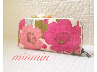 大人かわいい布財布 ピンク花柄の画像