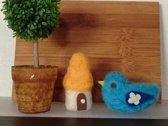 羊毛フェルト 青い鳥セットの画像