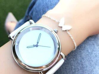 *発光針*クールシンプル腕時計 ホワイト <o-002>の画像