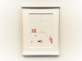 【受注制作】「おやつの時間」イラスト原画 ※木製額縁入りの画像