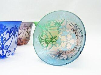◆ガラスのぐい呑み◆◆ポルトフルール◆ピンク×水色 ~IONWORK ~の画像