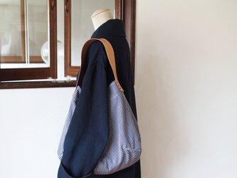 FUKURO ショルダーバッグ 〜 L / ヒッコリー × サドルレザーの画像