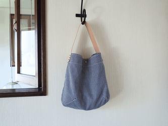 FUKURO ショルダーバッグ 〜 M / ヒッコリー × サドルレザーの画像
