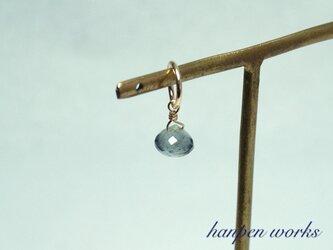 14kgf 3月の誕生石 宝石質 モスアクアマリン ネックレストップ チャームの画像
