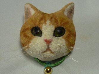 いつでも一緒猫さんブローチ 茶トラ猫さんの画像