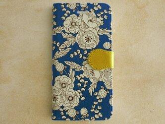 【iPhone7対応】花柄・手帳型スマホケース/flowers_navy【Android/iPhoneケース】の画像