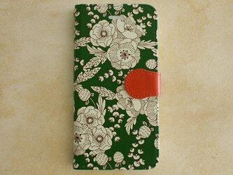 【iPhone7対応】花柄・手帳型スマホケース/flowers_green【Android/iPhoneケース】の画像