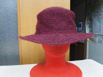 毛糸ブレードスタンダード帽子 ブリム5cm(赤)の画像