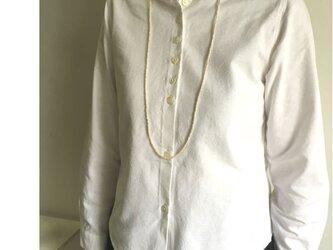 【受注生産】ベーシックオックスシャツ・丸衿 #オフホワイト<ニュートラル>の画像