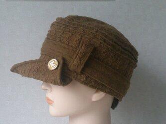魅せる帽子☆飾りベルトのワークキャップ ~キャメルの画像