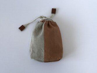 リネンの巾着⑩(beige×brown)の画像