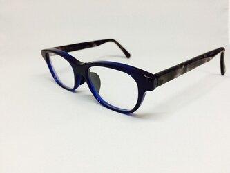 クリアネイビー&黒べっ甲カラーの渋いメガネ(メガネフレーム)の画像