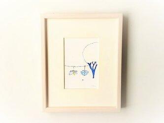 「雨上がり」イラスト原画/額縁入りの画像