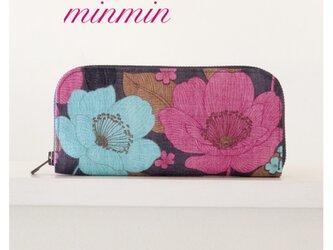 大人かわいい布財布 赤紫×ブルー花柄の画像