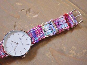 さをり織 オリジナルベルト時計の画像