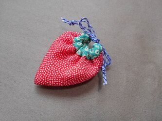 いちご袋*赤サメ小紋の画像