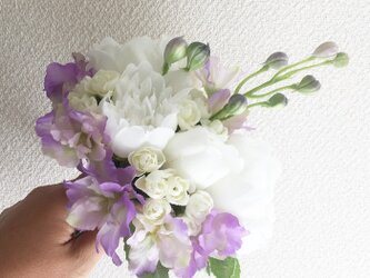 white× purpleミニブーケ -Liberty bouquet-の画像