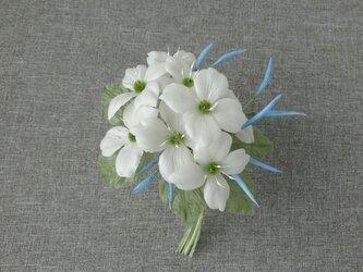 山ぼうしと水色ジャスミンの花束 * シルクヌメ製 * コサージュの画像