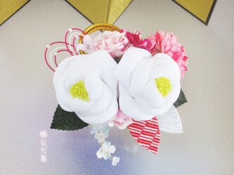 成人式 七五三 つまみ細工花髪飾り 和装 着物ヘアアクセサリー振袖 白系 結婚式の画像