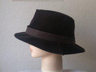 魅せる帽子☆コーデュロイのソフトハット~ブラウンの画像