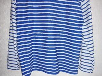 マリンボーダー切替え配色ベーシックTシャツ ブルー×白の画像