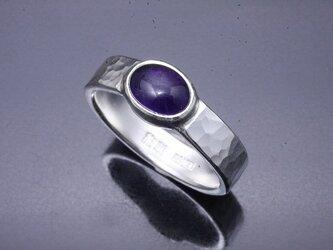 指輪 メンズ : 丸鎚目リング アメシスト 5mm幅 14~28号の画像