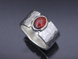 メンズ 指輪 : 丸鎚目リング ガーネット 10mm幅 14~28号の画像