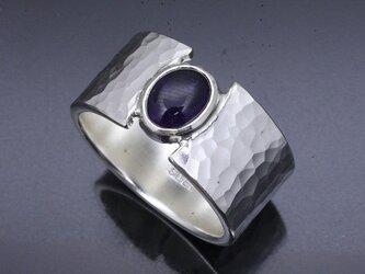 指輪 メンズ : 丸鎚目リング アメシスト 12mm幅 14~28号の画像