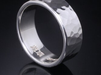 指輪 メンズ : 丸鎚目リング 8mm幅 4~27号の画像